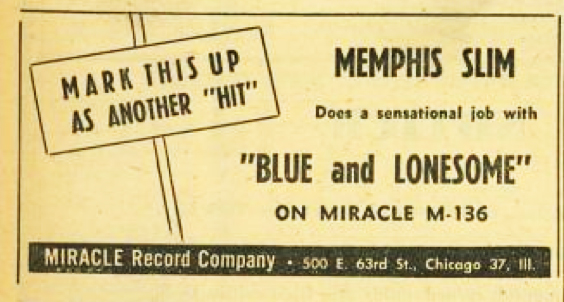 Memphis Slim on Miracle 136, ad from Billboard, October 1, 1949, p. 40