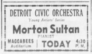 Morton Sultan appearance, February 27, 1938