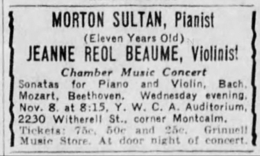 Morton Sultan appearance, November 8, 1933