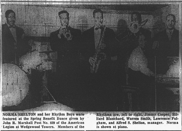 Photo of Norma Shelton and band  from June 1952