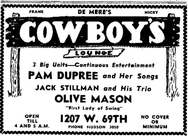 Olive Mason at Cowboy's Lounge, May 22, 1946