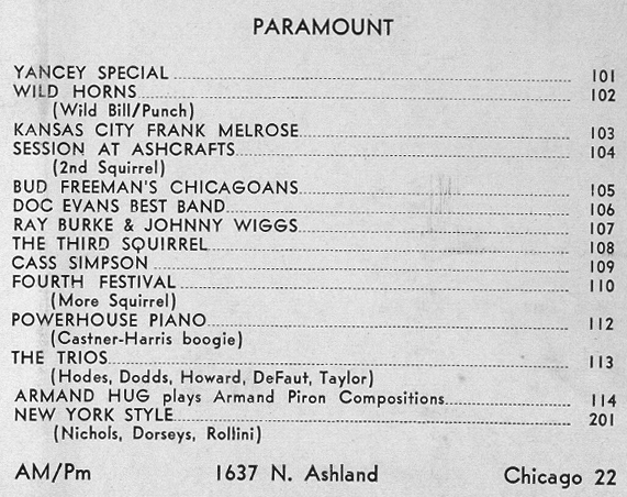 Paramount 100 and 200 series LP listing