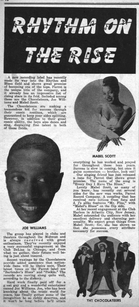 December 1953 article about Parrot Records
