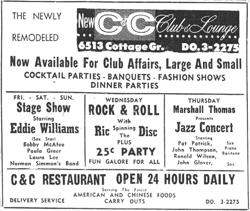Pat Patrick in Marshall Thompson's  band, at the C and C Lounge, December 1959