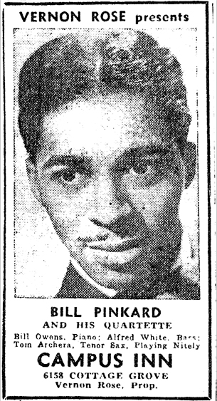 Bill Pinkard at Campus Lounge, Chicago Defender, September 30, 1944, p. 10