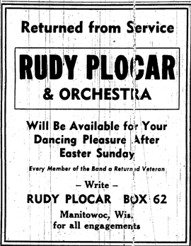 Ad for new Plocar band, February 1946