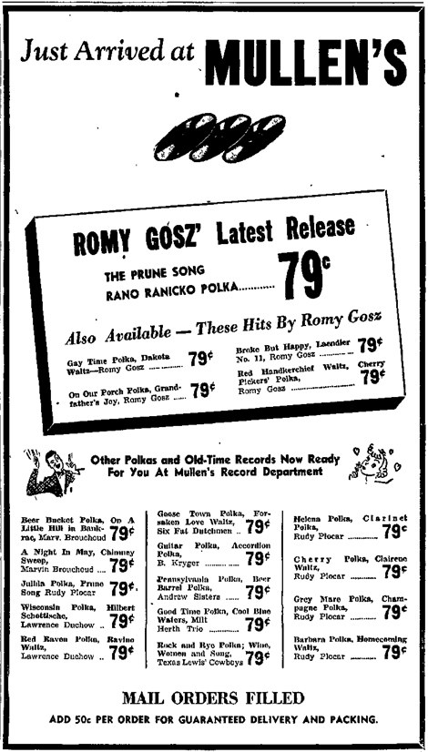 Mullen's Record Store ad, Sheboygan Press, March 19, 1947