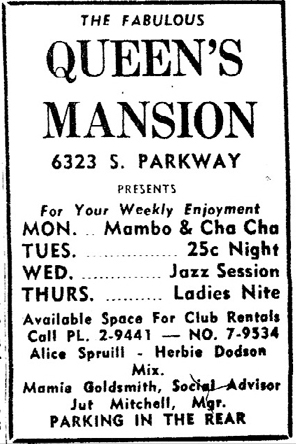 Queen's Mansion ad, June 7, 1958