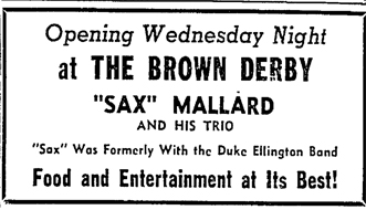 Sax Mallard at the Brown Derby, Waterloo Daily Courier, July 20, 1948, p. 6