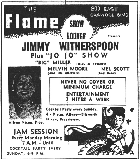 Melvin Scott at the Flame, April 30, 1954