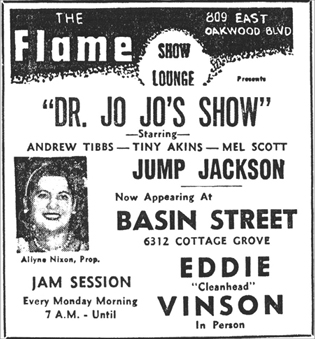Jo Jo Adams and Melvin Scott at the Flame, October 1954