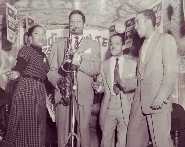 Melvin Scott with Little Miss Cornshucks, Tiny Bradshaw, and Jo Jo Adams at the Flame Lounge, April 1954