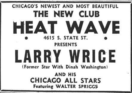 Walter Spriggs in New Heat Wave Lounge ad, Chicago Defender, April 3, 1954, p. 25