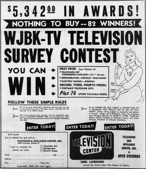 Detroit TV center contest, April 17, 1949