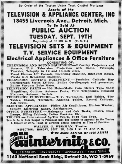 Detroit TV center bankruptcy auction, September 17, 1950