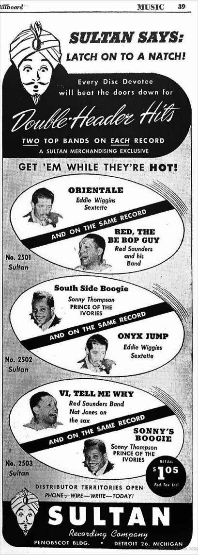 Sultan's one and only display ad, June 8, 1946