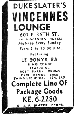 Sun Ra at the Vincennes Lounge, January 15, 1955