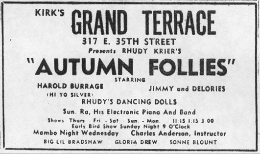 Sun Ra in Grand Terrace ad, October 1, 1955