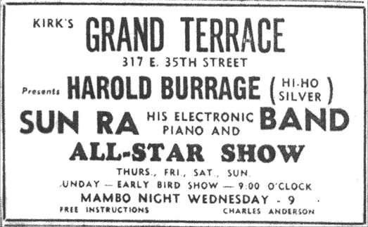 Sun Ra in Grand Terrace ad, October 22,  1955