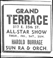 Sun  Ra in Grand Terrace ad, November 5, 1955