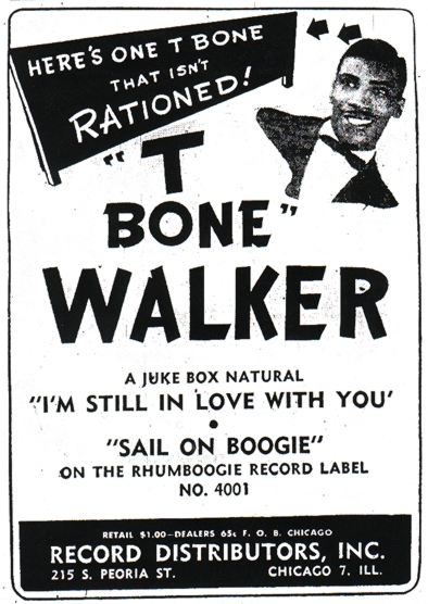 An advert for T-Bone Walker on Rhumboogie, November 1945
