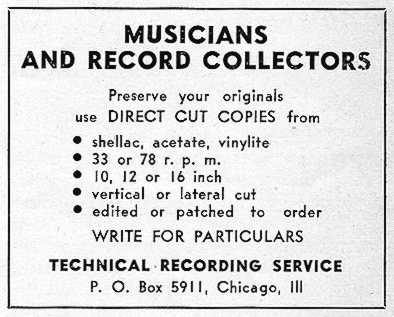 Ad for Technical Recording Service, The Jazz Record, Feb 1946, p. 18