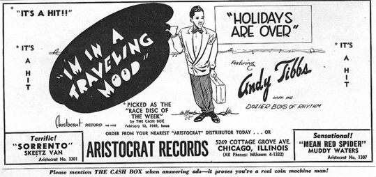 Cash Box ad for Aristocrat 1105, March 5, 1949