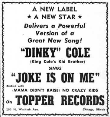 Topper Records advertisement, Billboard, September 13, 1952, p. 100