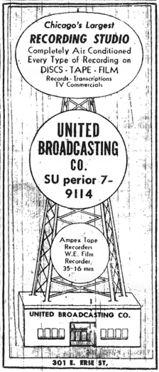 1951 Yellow Pages ad for United Broadcasting Studio