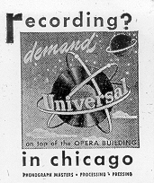 A 1947 ad for Universal Recording