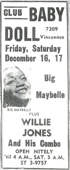 Willie Jones at Club Baby Doll, December 17, 1960